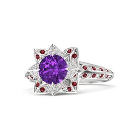 Round Amethyst Sterling Silver Ring with White Sapphire and Ruby