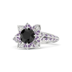 Round Black Diamond Sterling Silver Ring with Amethyst and White Sapphire