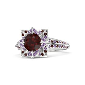 Round Red Garnet Sterling Silver Ring with Amethyst and Red Garnet