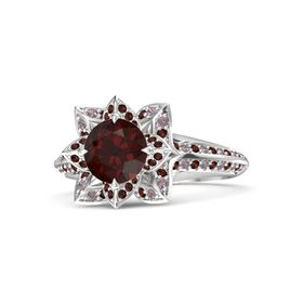 Round Red Garnet Sterling Silver Ring with Red Garnet and Rhodolite Garnet