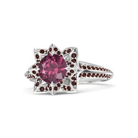Round Rhodolite Garnet Sterling Silver Ring with Red Garnet