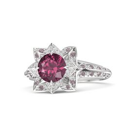 Round Rhodolite Garnet Sterling Silver Ring with White Sapphire and Rhodolite Garnet