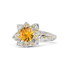Round Citrine Sterling Silver Ring with Citrine and White Sapphire