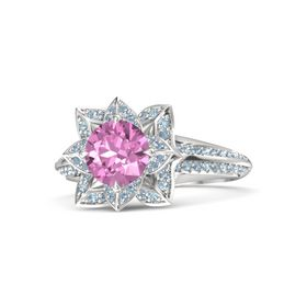 Round Pink Sapphire Sterling Silver Ring with Blue Topaz and Aquamarine