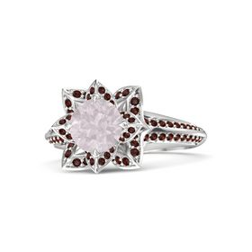Round Rose Quartz Sterling Silver Ring with Red Garnet