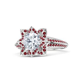 Round Moissanite Sterling Silver Ring with Ruby