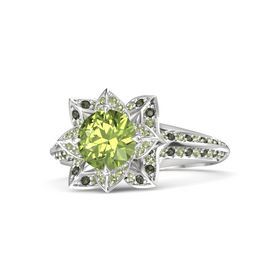Round Peridot Sterling Silver Ring with Peridot and Green Tourmaline