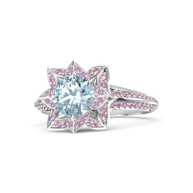 Round Aquamarine Sterling Silver Ring with Pink Tourmaline and Pink Sapphire