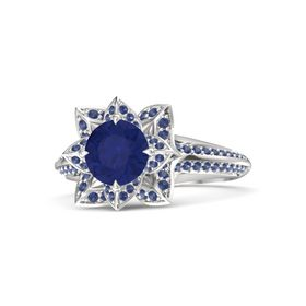 Round Blue Sapphire Sterling Silver Ring with Blue Sapphire