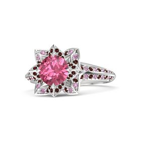 Round Pink Tourmaline Sterling Silver Ring with Red Garnet and Pink Tourmaline