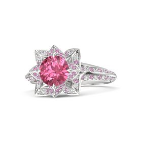 Round Pink Tourmaline Sterling Silver Ring with Pink Tourmaline and White Sapphire