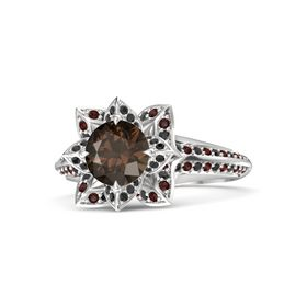 Round Smoky Quartz Sterling Silver Ring with Black Diamond and Red Garnet