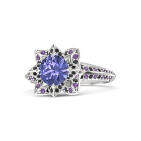 Round Tanzanite Sterling Silver Ring with Black Diamond and Amethyst