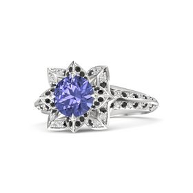 Round Tanzanite Sterling Silver Ring with Black Diamond and White Sapphire