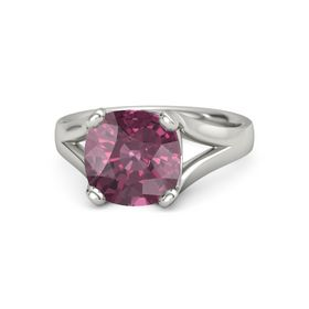 Cushion Rhodolite Garnet 14K White Gold Ring