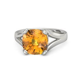 Cushion Citrine 14K White Gold Ring