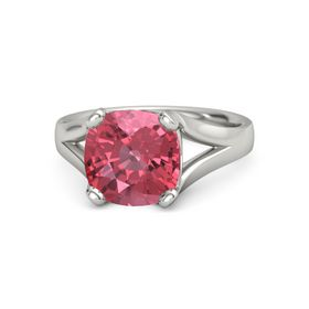 Cushion Pink Tourmaline 14K White Gold Ring