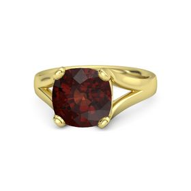 Cushion Red Garnet 14K Yellow Gold Ring