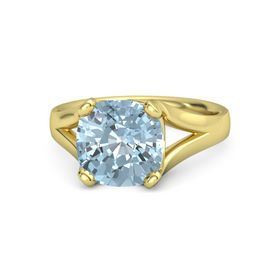 Cushion Aquamarine 14K Yellow Gold Ring