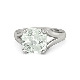 Cushion Green Amethyst Platinum Ring