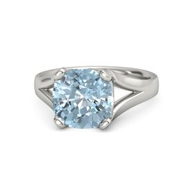 Cushion Aquamarine Platinum Ring