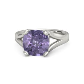 Cushion Iolite Platinum Ring