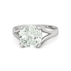 Cushion Green Amethyst Sterling Silver Ring