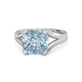 Cushion Aquamarine Sterling Silver Ring