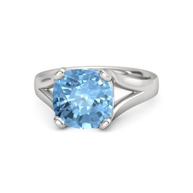 Cushion Blue Topaz Sterling Silver Ring
