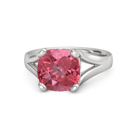 Cushion Pink Tourmaline Sterling Silver Ring