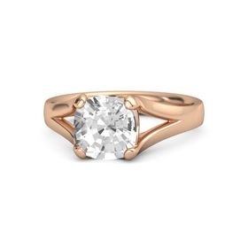 Cushion Rock Crystal 14K Rose Gold Ring