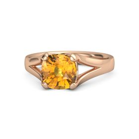 Cushion Citrine 14K Rose Gold Ring