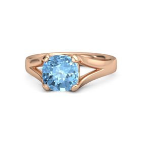 Cushion Blue Topaz 14K Rose Gold Ring