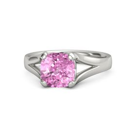Cushion Pink Sapphire 14K White Gold Ring