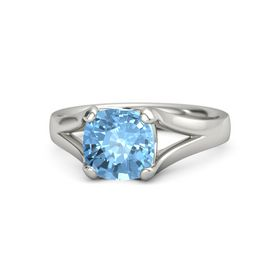 Cushion Blue Topaz 14K White Gold Ring