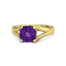 Cushion Amethyst 14K Yellow Gold Ring