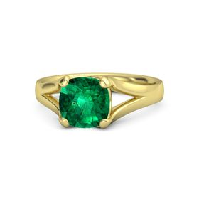 Cushion Emerald 14K Yellow Gold Ring