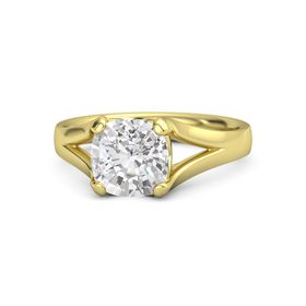 Cushion White Sapphire 14K Yellow Gold Ring