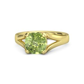 Cushion Peridot 14K Yellow Gold Ring