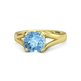 Cushion Blue Topaz 14K Yellow Gold Ring
