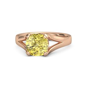 Cushion Yellow Sapphire 18K Rose Gold Ring