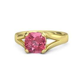 Cushion Pink Tourmaline 18K Yellow Gold Ring