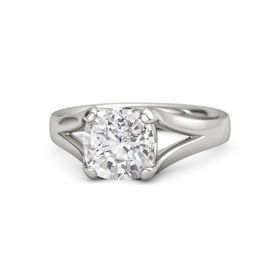 Cushion White Sapphire Palladium Ring
