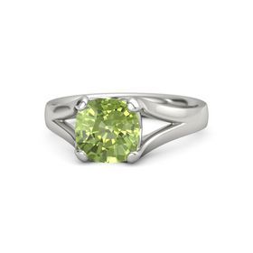 Cushion Peridot Palladium Ring