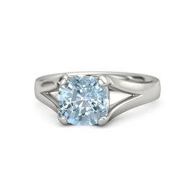 Cushion Aquamarine Palladium Ring