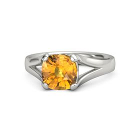 Cushion Citrine Platinum Ring