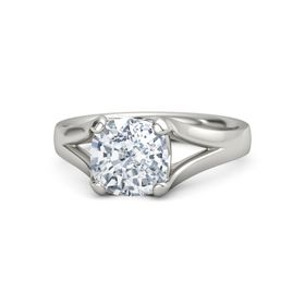 Cushion Moissanite Platinum Ring