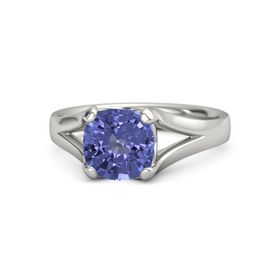 Cushion Tanzanite Platinum Ring