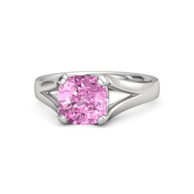Cushion Pink Sapphire Sterling Silver Ring