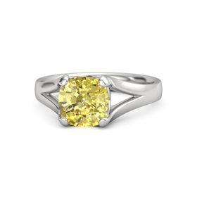 Cushion Yellow Sapphire Sterling Silver Ring
